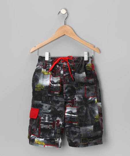 Red Postcard Boardshorts - Boys