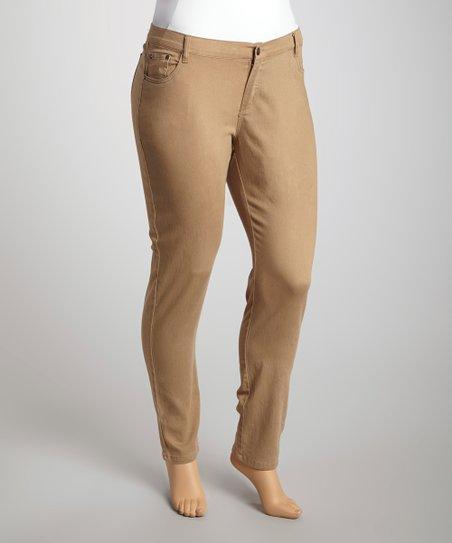 Mocha Twill Skinny Pants – Plus