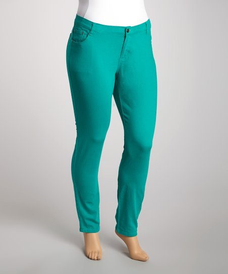Emerald Twill Skinny Pants - Plus