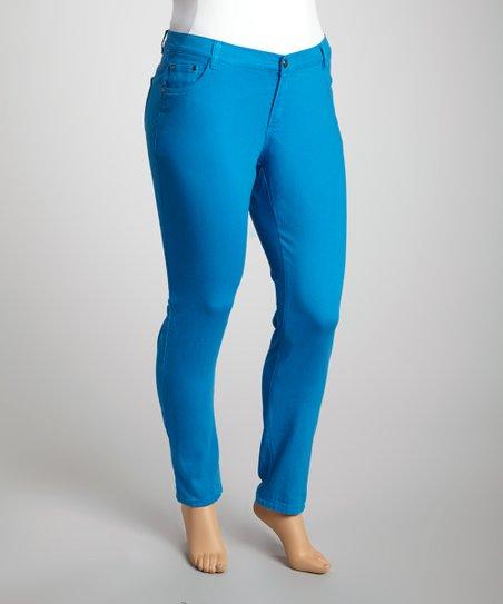 Mykonos Blue Twill Skinny Pants – Plus