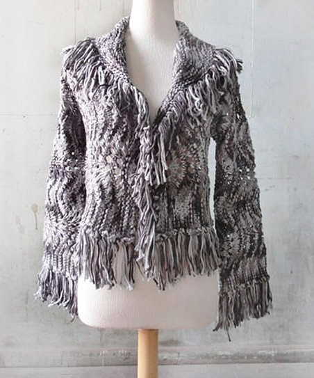 Black & Gray Short Fringe Jacket