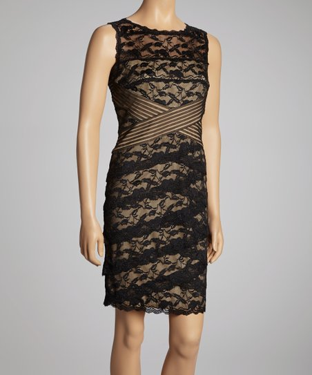 Black & Nude Lace Cross Bodice Dress - Petite