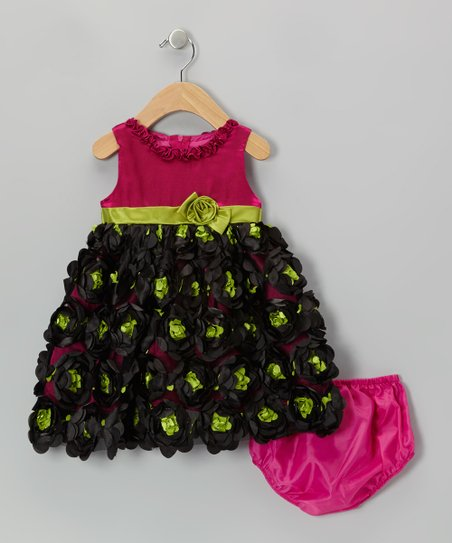 Fuchsia Ruffle Bow Dress & Diaper Cover - Infant