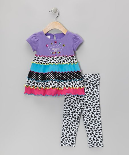 Purple Crown Cap-Sleeve Dress Set - Infant, Toddler & Girls