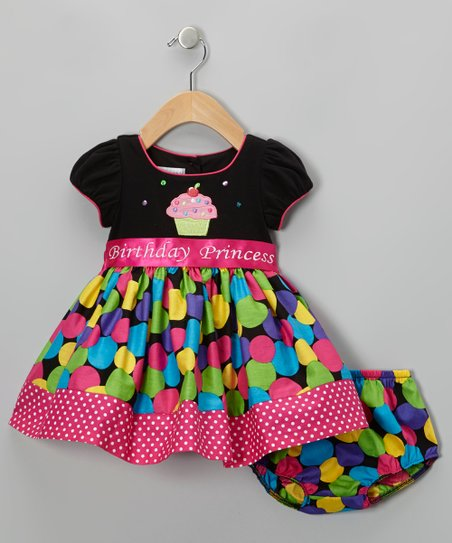 Black & Pink 'Birthday' Dress - Toddler