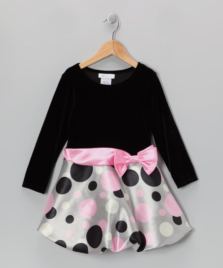 Black, Gray & Pink Polka Dot Bubble Dress - Toddler & Girls