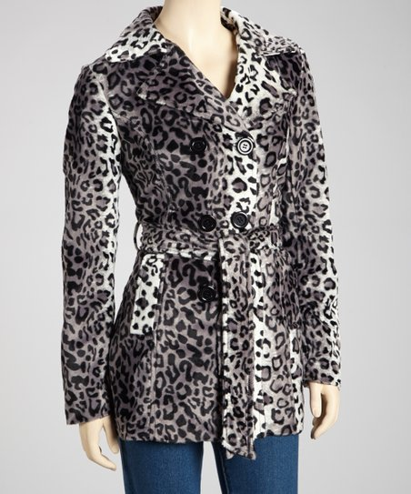 Gray Leopard Trench Coat