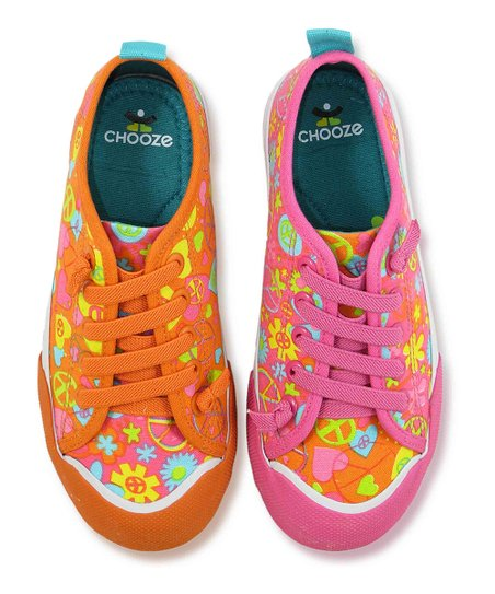 Pink & Orange Peace Favorite Sneaker - Kids