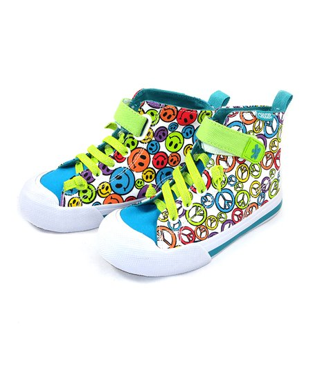 Lime Green & Blue Smile Speak Up Hi-Top Sneaker - Kids