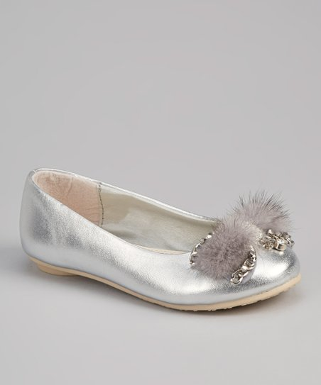 Silver Rhinestone Feather Bow Flat