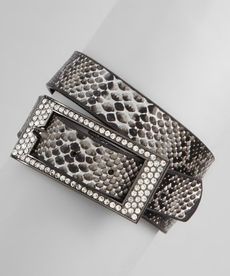 Black & White Snakeskin Sparkle Buckle Wrap Bracelet