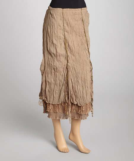 Brown Silk-Blend Maxi Skirt