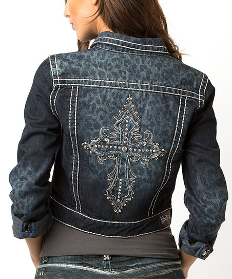 Dark Leopard Jamie Denim Jacket - Women