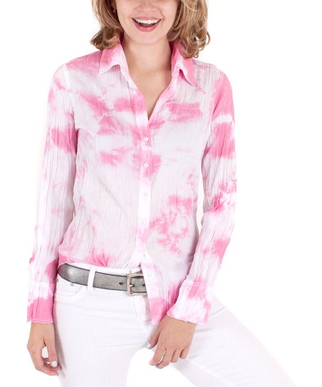 Pink & White Tie-Dye Button-Up