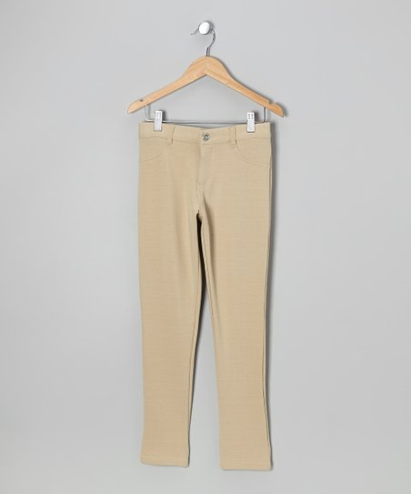 Khaki Moleton Pants - Girls