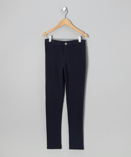 Navy Moleton Pants - Girls