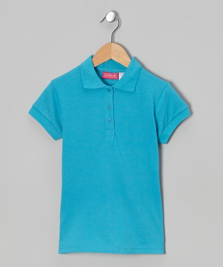 Bright Turquoise Johnny Pique Polo - Girls