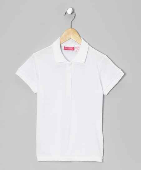 White Johnny Pique Polo - Girls