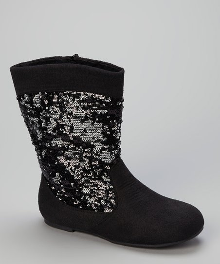 Black & Silver Sequin Boot