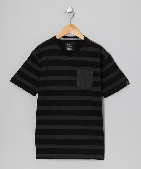 Black Stripe Tee - Boys