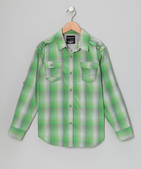 Green Plaid Woven Button-Up - Infant