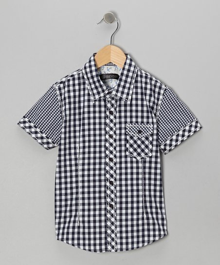 Blue Checkerboard Button-Up - Boys