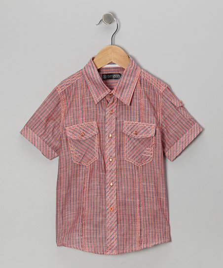 Orange Stripe Button-Up - Boys