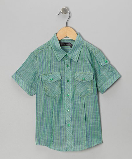 Green Stripe Button-Up - Boys