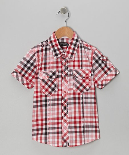 Red & Black Plaid Button-Up