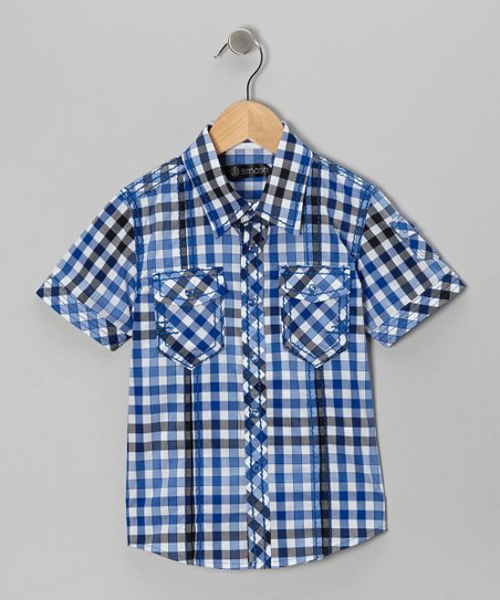 Blue & Black Plaid Button-Up