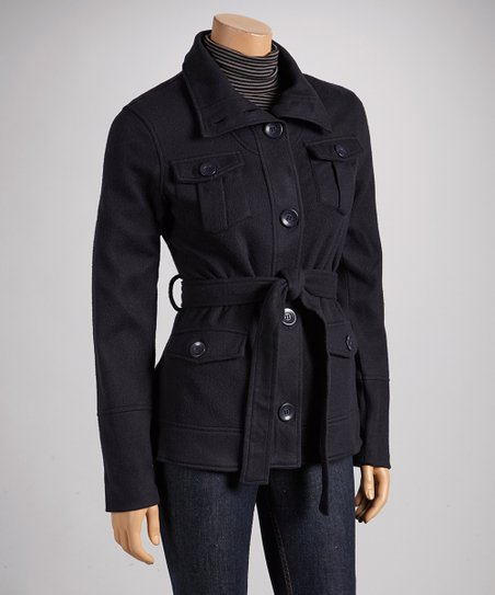 Navy Tie-Waist Fleece Coat
