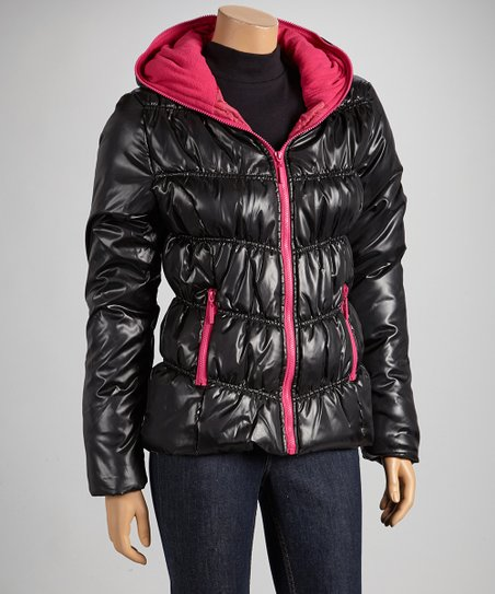 Black & Fuchsia Hooded Puffer Coat