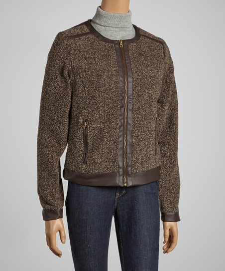 Camel Textured Jacket - Women