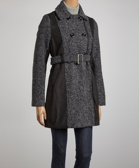 Black Textured Belted Jacket