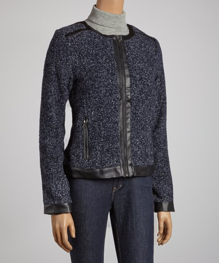 Navy Textured Jacket - Women