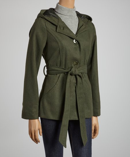 Olive Hooded Belted Coat