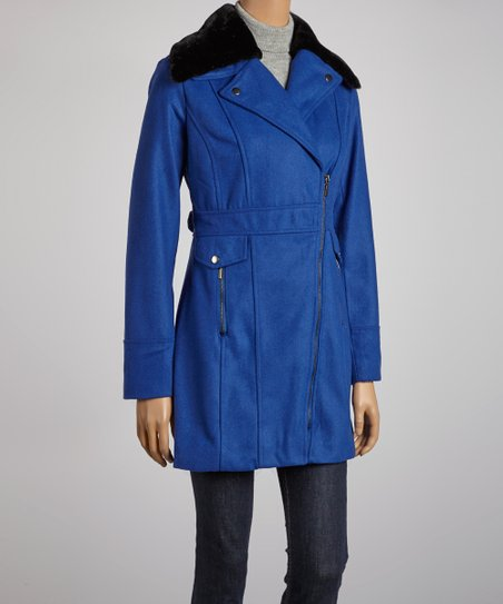 Blue Hooded Zipper Jacket