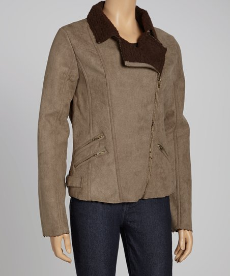 Beige Faux Fleece Asymmetrical Jacket