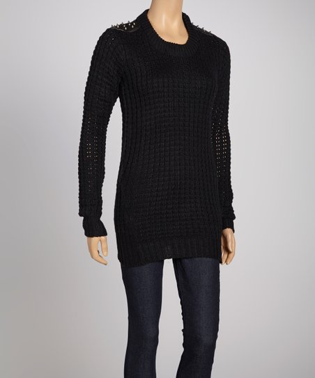 Black Studded Long-Sleeve Sweater