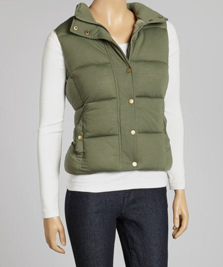 Olive Button-Up Puffer Vest