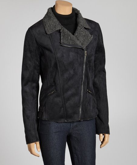 Black Faux Fleece Asymmetrical Jacket
