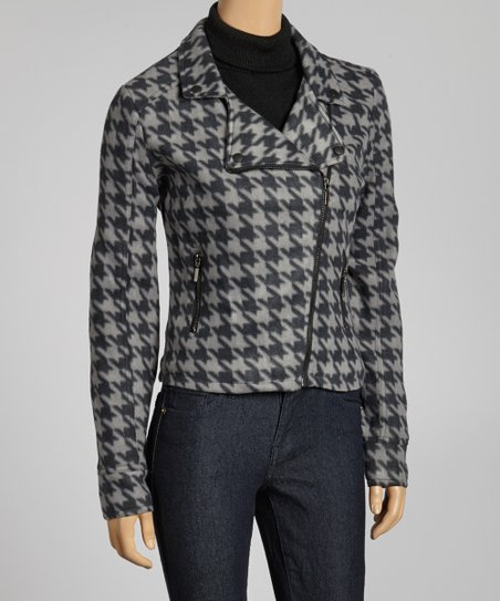 Grey & Black Houndstooth Asymmetrical Jacket