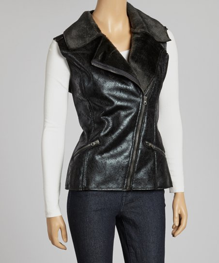 Black Faux Leather Asymmetrical Vest