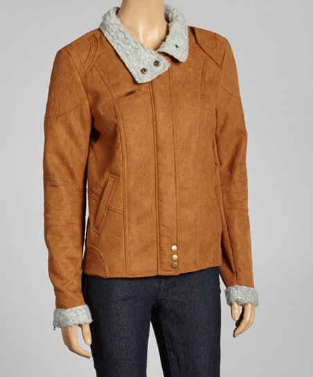 Light Brown Bomber Jacket - Women