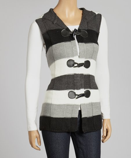 Grey & White Stripe Hooded Vest