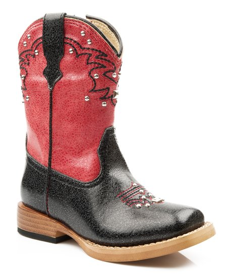 Black & Red Stud Cowboy Boot - Kids