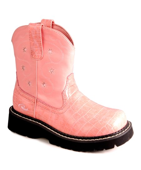 Pink Crocodile Chunk Cowboy Boot