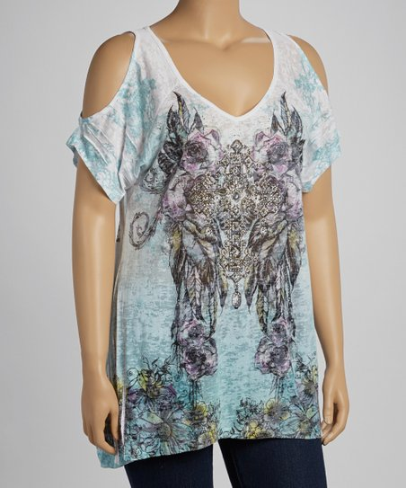 White & Aqua Sublimation Cutout Top - Plus