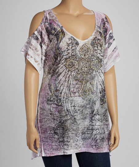 Purple Cross & Wings Sublimation Burnout Cutout Top - Plus