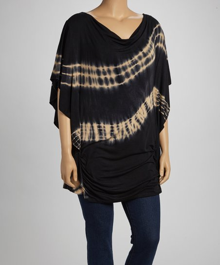 Black & Yellow Tie-Dye Cape-Sleeve Top - Plus